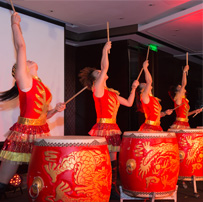 Traditional Chinese drummers opening the awards ceremony.